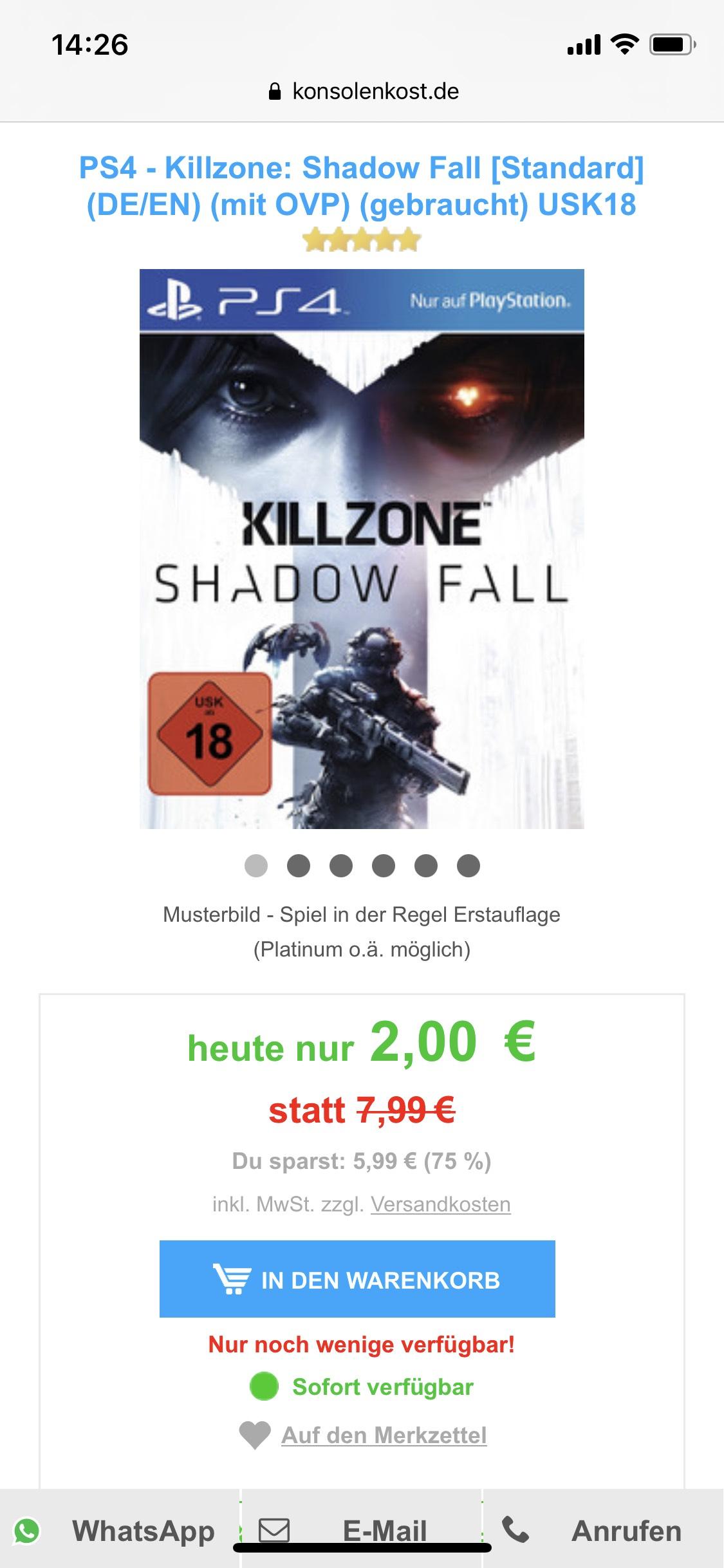 PS4 - Killzone: Shadow Fall (DE/EN) (mit OVP) (gebraucht) USK18 PlayStation 4