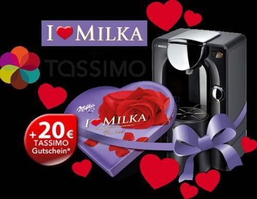 BOSCH TASSIMO T20, T42, JOY oder T55 + ILOVE MILKA + TASSIMO - Valentinstags-Aktion + 20 Euro Gutschein