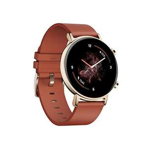 Huawei Watch GT2 42mm - AMOLED Smartwatch (für Android & iOS, Edelstahl, Lederarmband, Bluetooth, GPS, Musiksteuerung) Chestnut Red