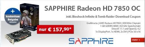 Alternate (AT) SAPPHIRE Radeon HD 7850 OC inkl.BioShock Infinitie&Tom Raider Download Coupon