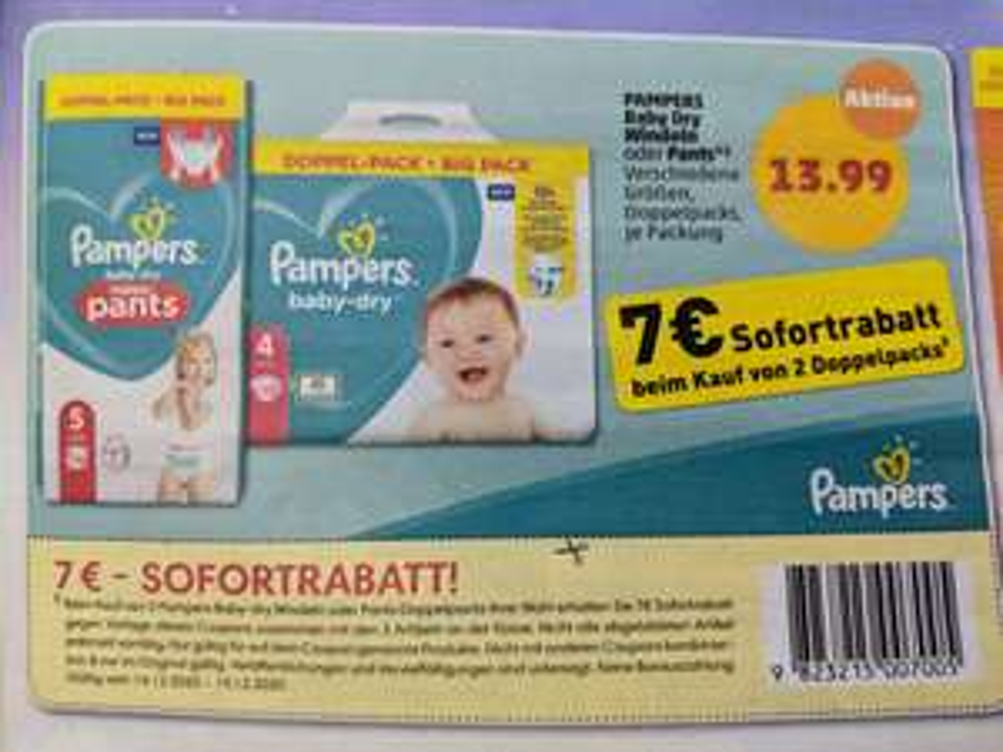 2 * PAMPERS Baby-Dry Windeln oder Pants Doppelpack @ PENNY (nach 7,-€ Sofortrabatt)