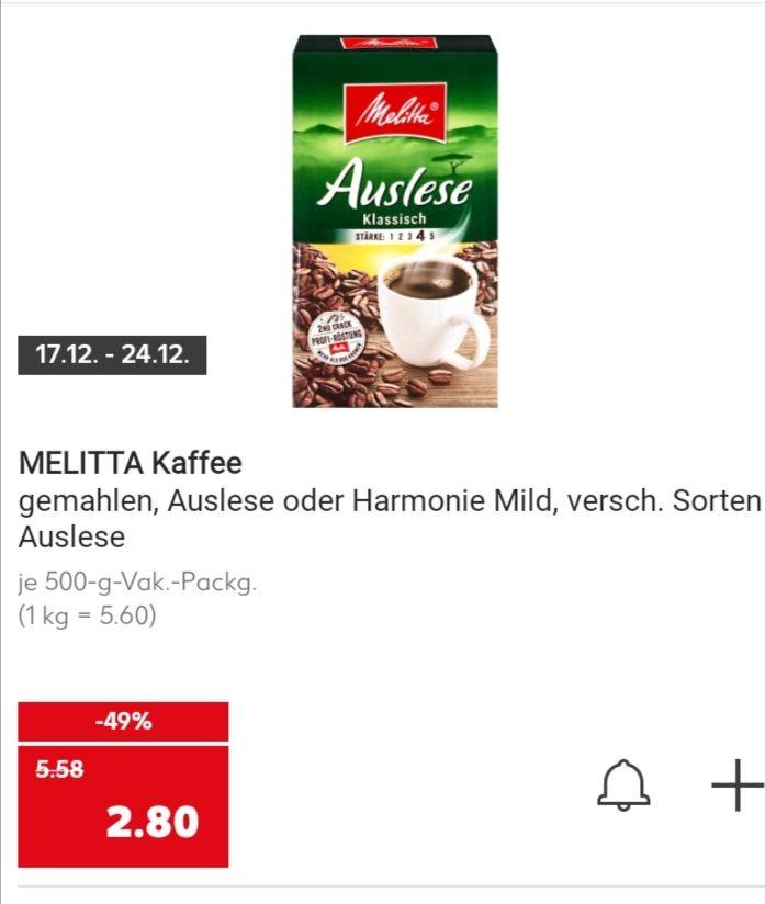 Kaufland Melitta Kaffee (Auslese o. Harmonie Mild) ab 17.12.2020 für 2,80