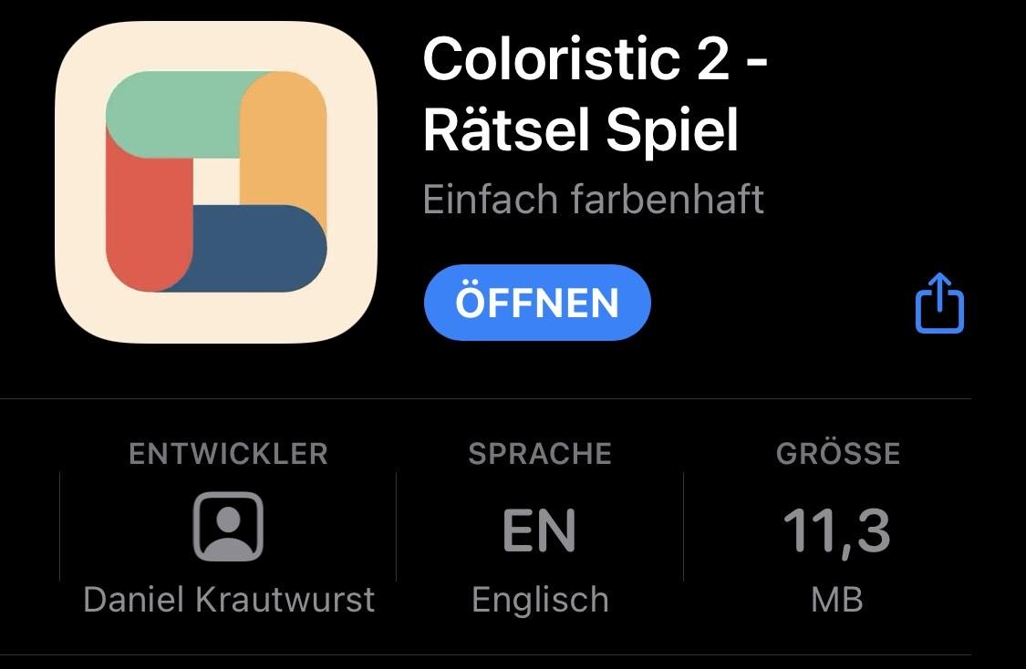 [iOS] Coloristic 2 - Rätsel-Spiel - kostenlos statt 1,09 €