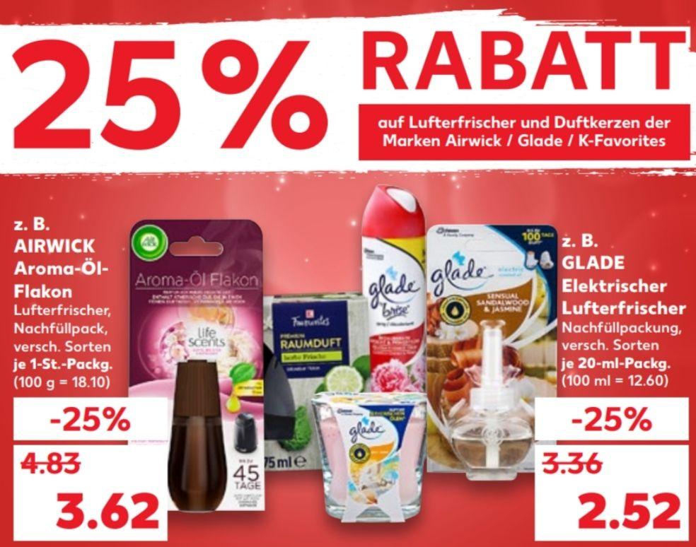 [Kaufland Mo-Do] 25% Rabatt auf Glade Produkte + kombinierbar mit Coupon