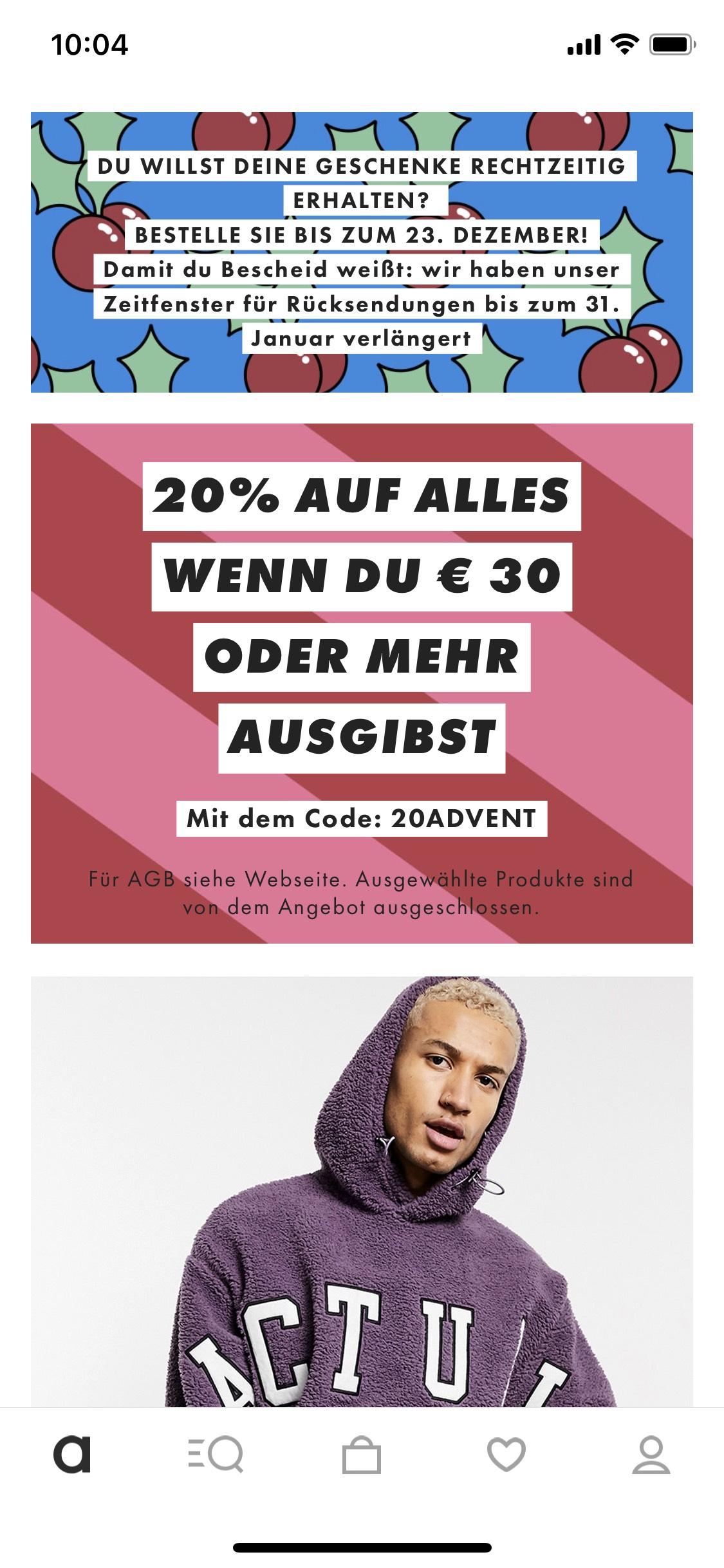 20% auf alles bei ASOS ab Bestellwert von 30€