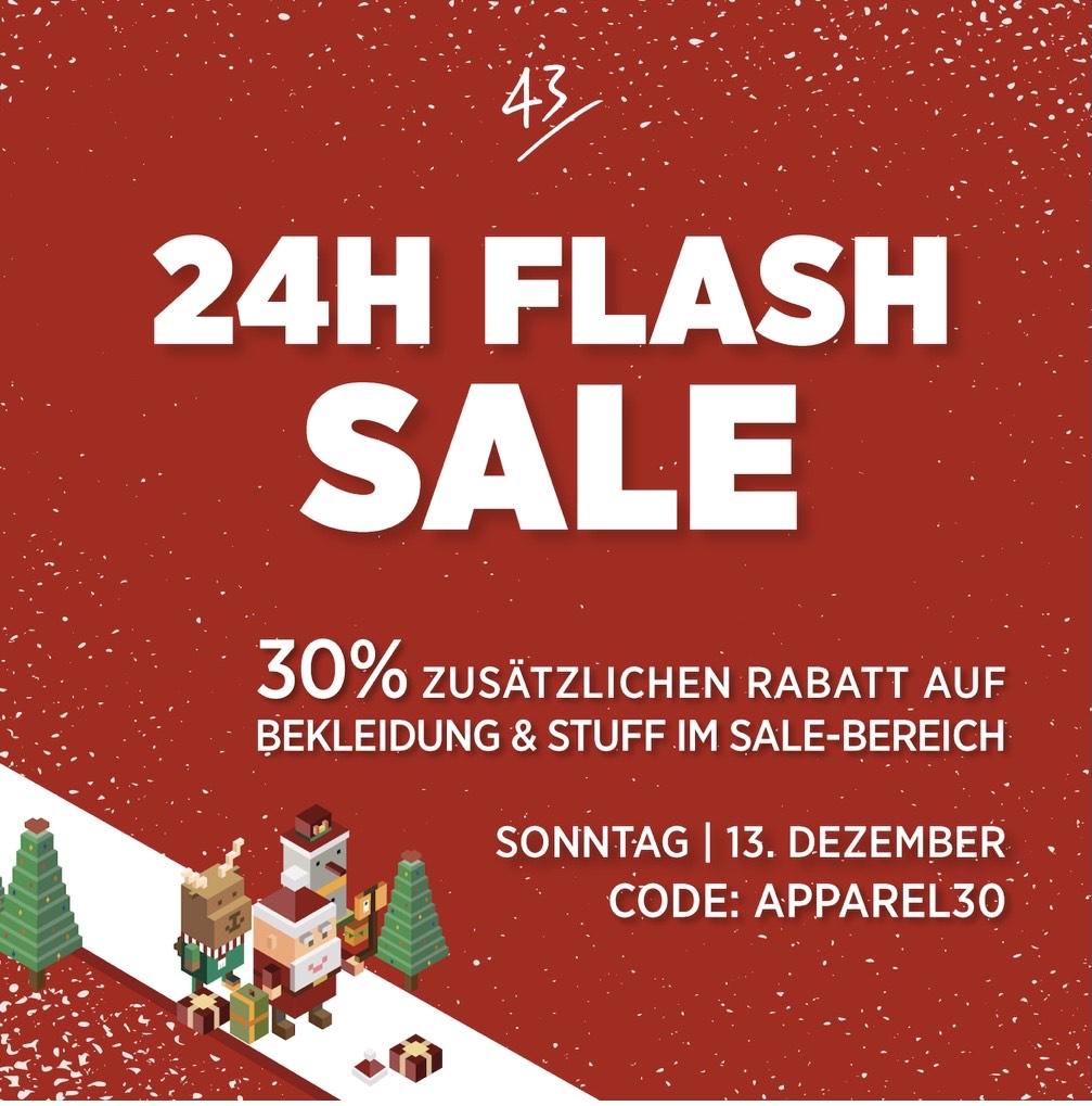 43einhalb 24H Flash Sale 30% Rabatt auf Apparel im SALE Bereich