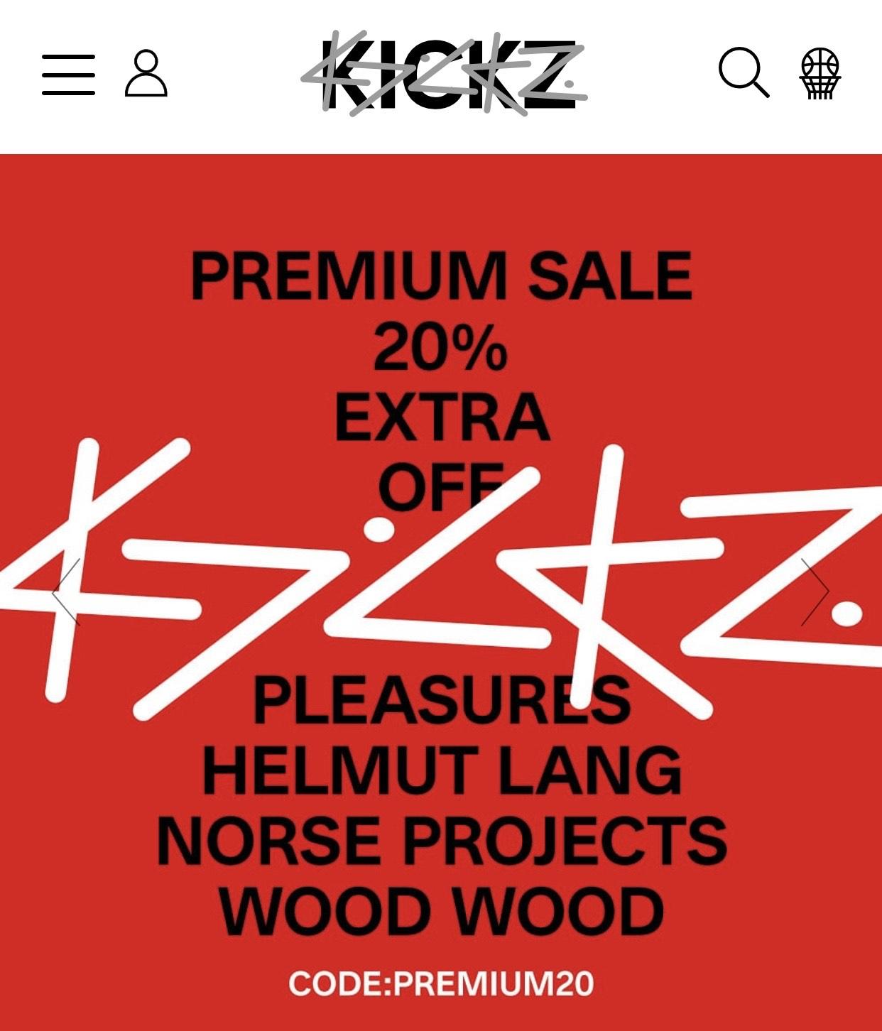 Kickz Premium Sale 20% Rabatt auf bestimmte reduzierte Artikel (nur ausgewählte Marken)