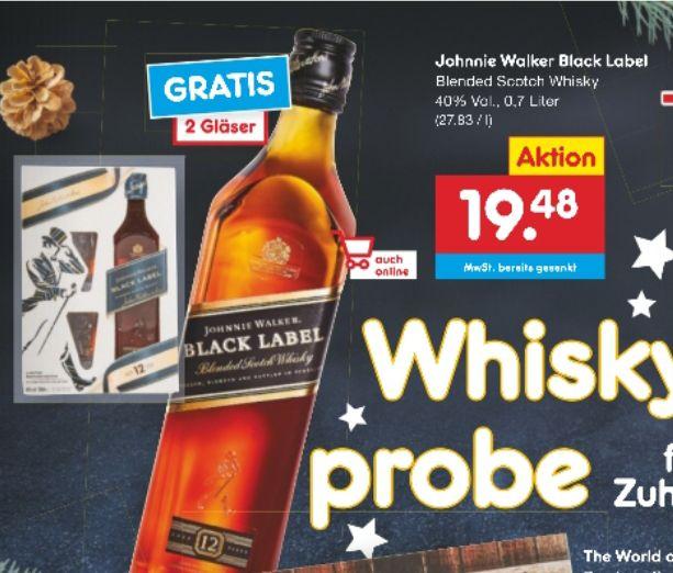 [Netto MD] Johnnie Walker Black Label 12 Jahre 40% 0,7l, 2 Gläser gratis / Preis mit Coupon