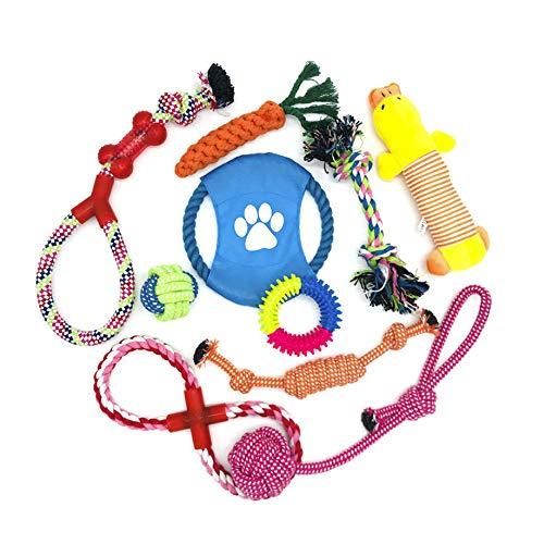 (Prime) 10 Teile-Set: WeFine Hunde Kauspielzeug, Zahntraining, Hundespielzeug, 100% natürliches Baumwollseil (für kleine und mittlere Hunde)