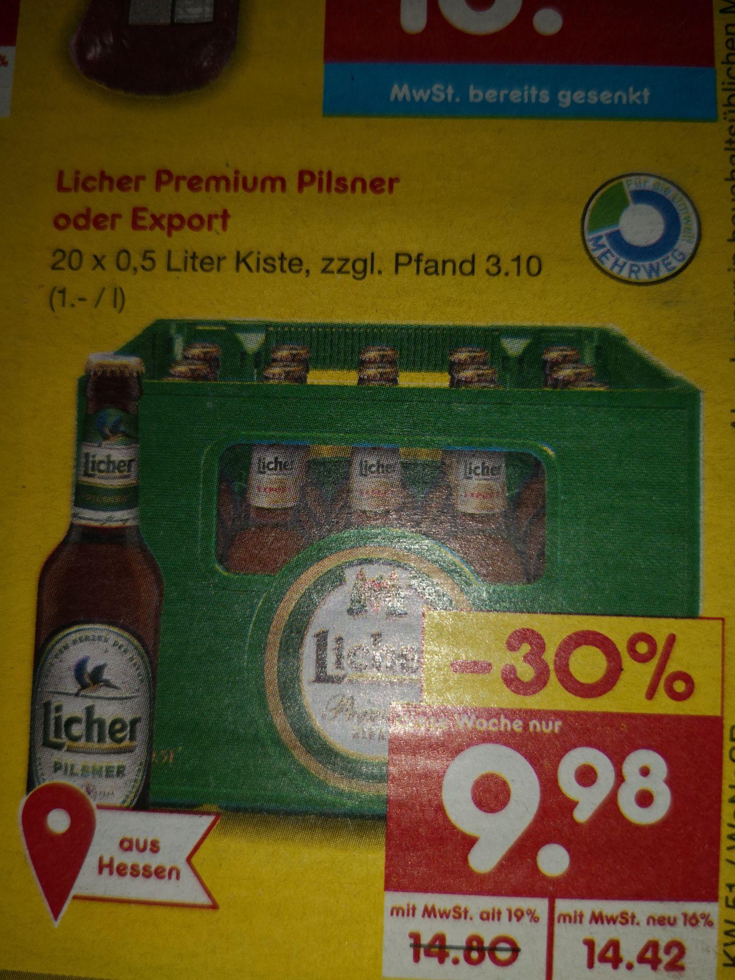Netto MD Licher Bier 20x0,5 Liter Kiste 9,98