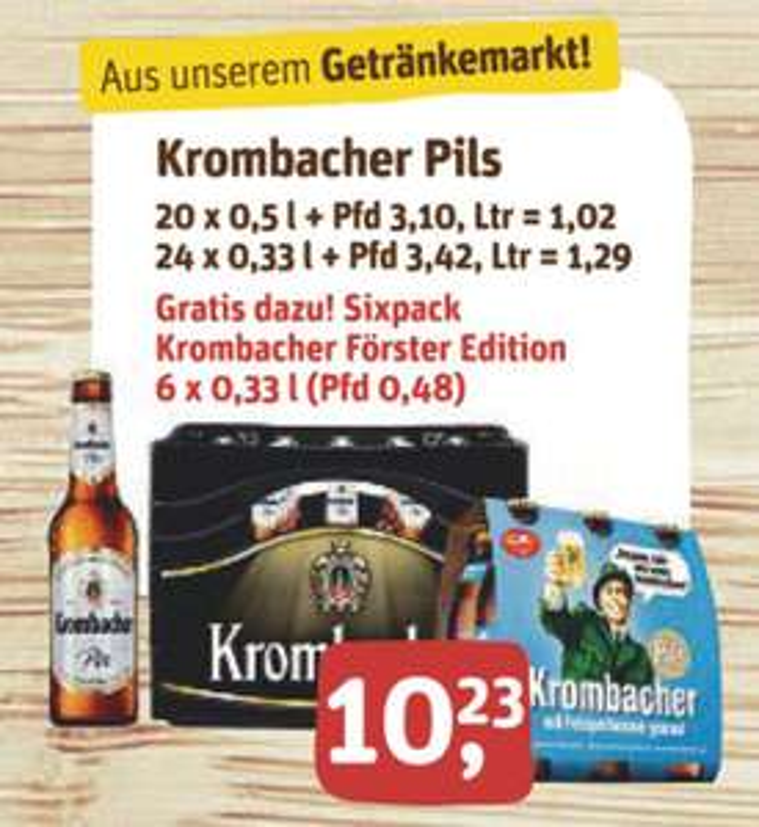lokal Wilnsdorf - Zu jeder 20er bzw. 24er Kiste Krombacher, verschiedene Sorten, gibt es ein Sixpack Pils in der Förster Edition Gratis dazu