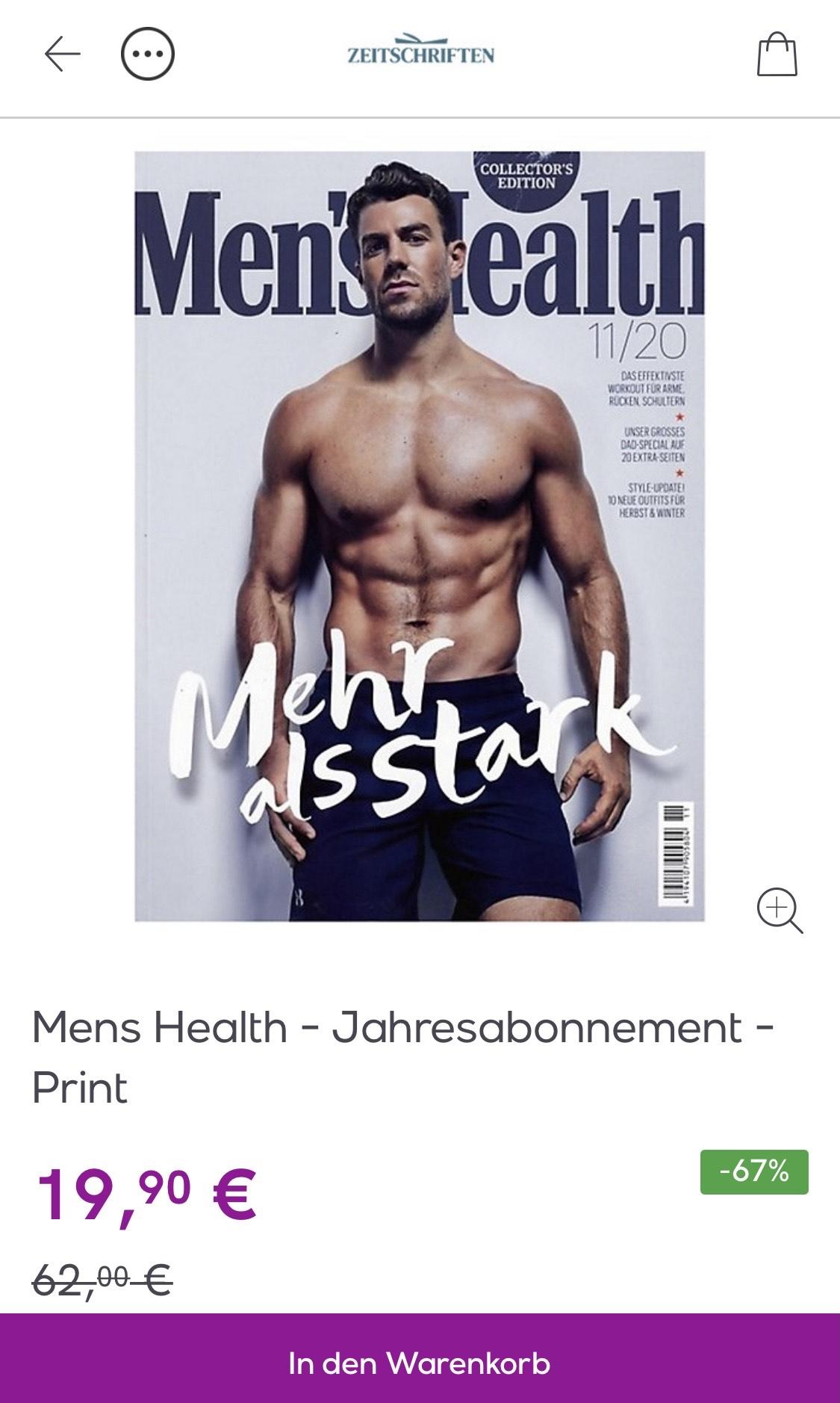 Veepee: Mens Health - Jahresabonnement - Print ; alternativ auch den Playboy (: