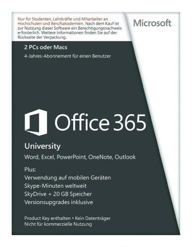 Office 365 University (Office 2013) für Studenten für 61,81€ bei voelkner