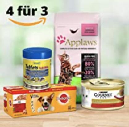 Amazon: Nimm 4 zahl 3 Aktion auf Haustierprodukte z.B. 4x Vitakraft Hundesnack Fleisch-Stick Beef für 1,14€
