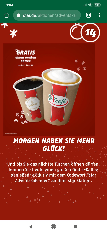 (Star Tankstellen) Heute gratis einen großen Kaffee trinken