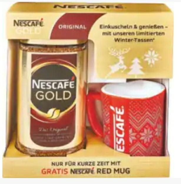 Nescafé Gold 200g + Winter-Tasse. Roter Netto ( ohne Hund )