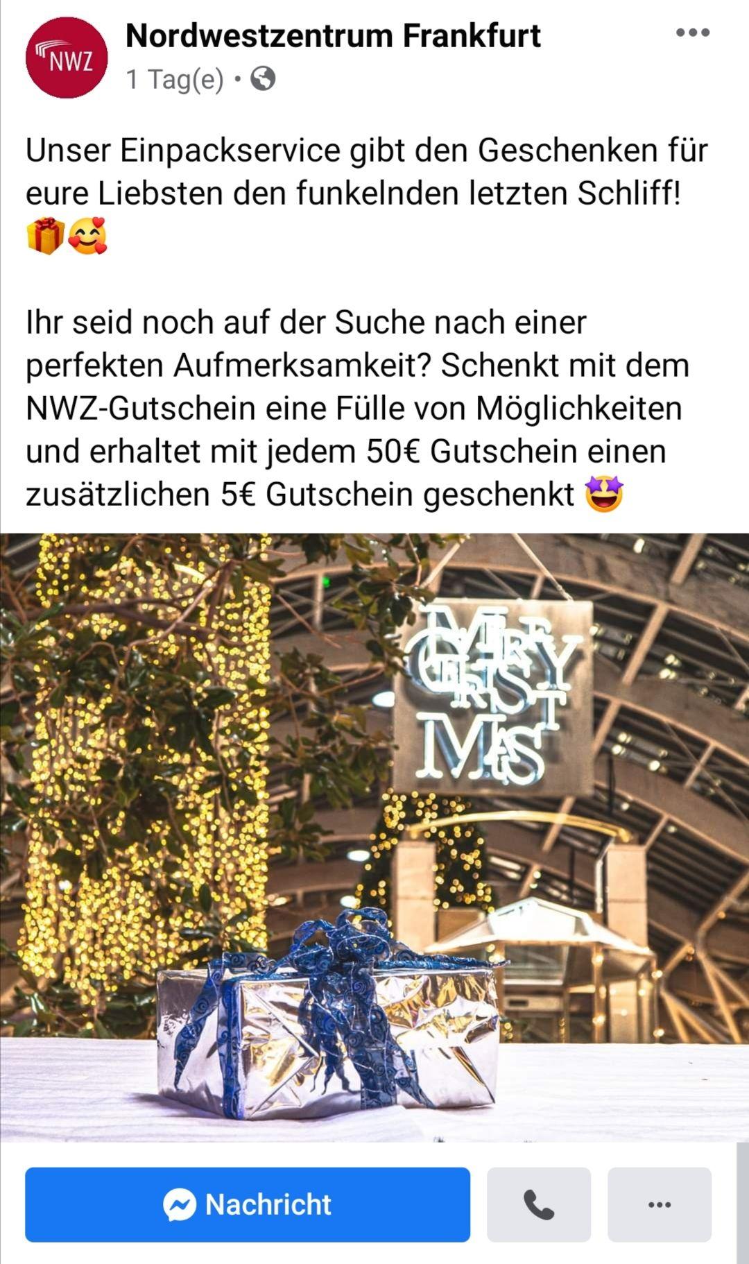 Lokal Nordwestzentrum Frankfurt Gutschein für 50€ kaufen 5€ Gutschein geschenkt