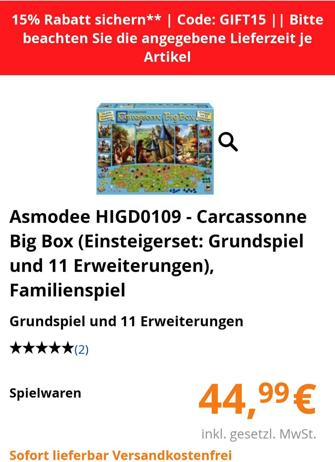Carcassonne Big Box (bol.de) für 38,25 € inkl. Versand