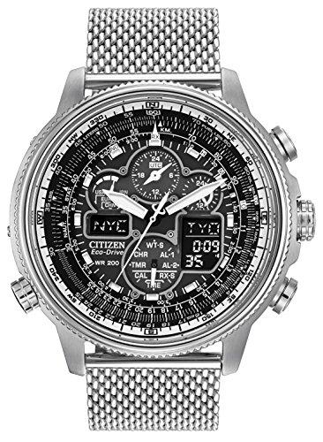 [Amazon.uk] Citizen NAVIHAWK Herren Eco Drive Uhr mit schwarzem Zifferblatt Analog/Digital-Anzeige und Silber Edelstahl Armband