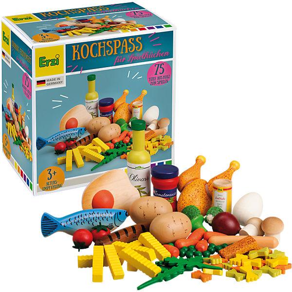 """Erzi 28217 Spiellebensmittel Set """"Kochspaß"""" für Spielküche/Kaufladen aus Holz"""