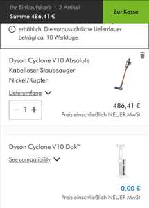 Dyson V10 Absolute + Gratis Ladestation Corporate-Benefits
