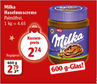 1,2 Kg Milka Haselnusscreme, 2 x 600g Glas, mit 2 Euro Sofortrabatt für 3,48 Euro [Globus]