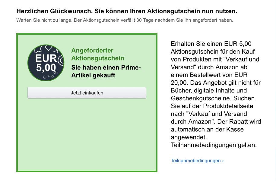 Personalisiert - Amazon Prime   Aktionsgutschein   5 Euro bei 20 Euro MBW