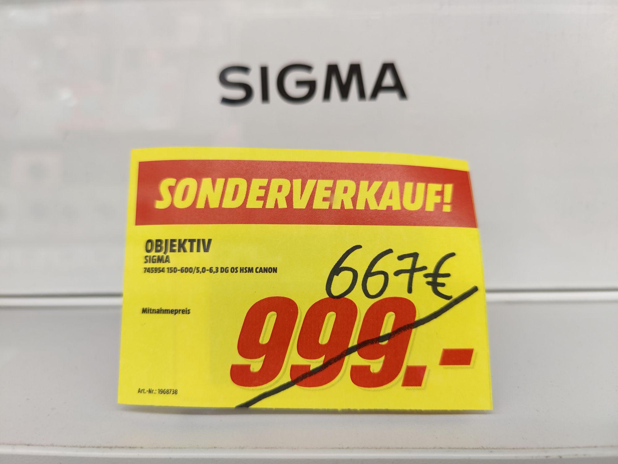 (Lokal) Media Markt Sinsheim - Sigma 150-600 für Canon