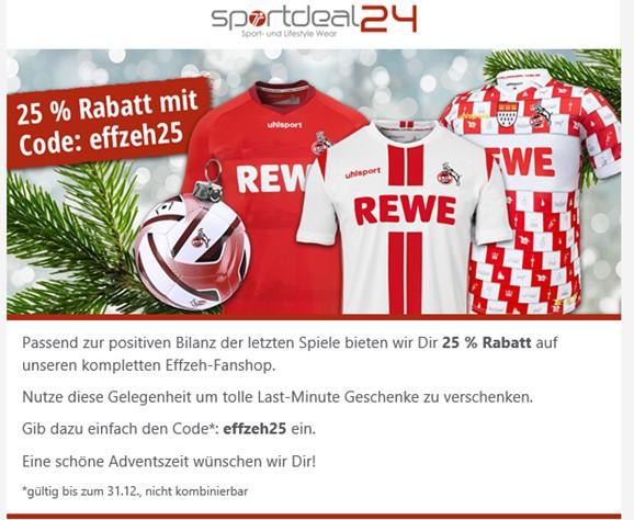 -25 % auf den kompletten Effzeh Fanshop (auch andere Vereine) SPORTSDEAL24.DE