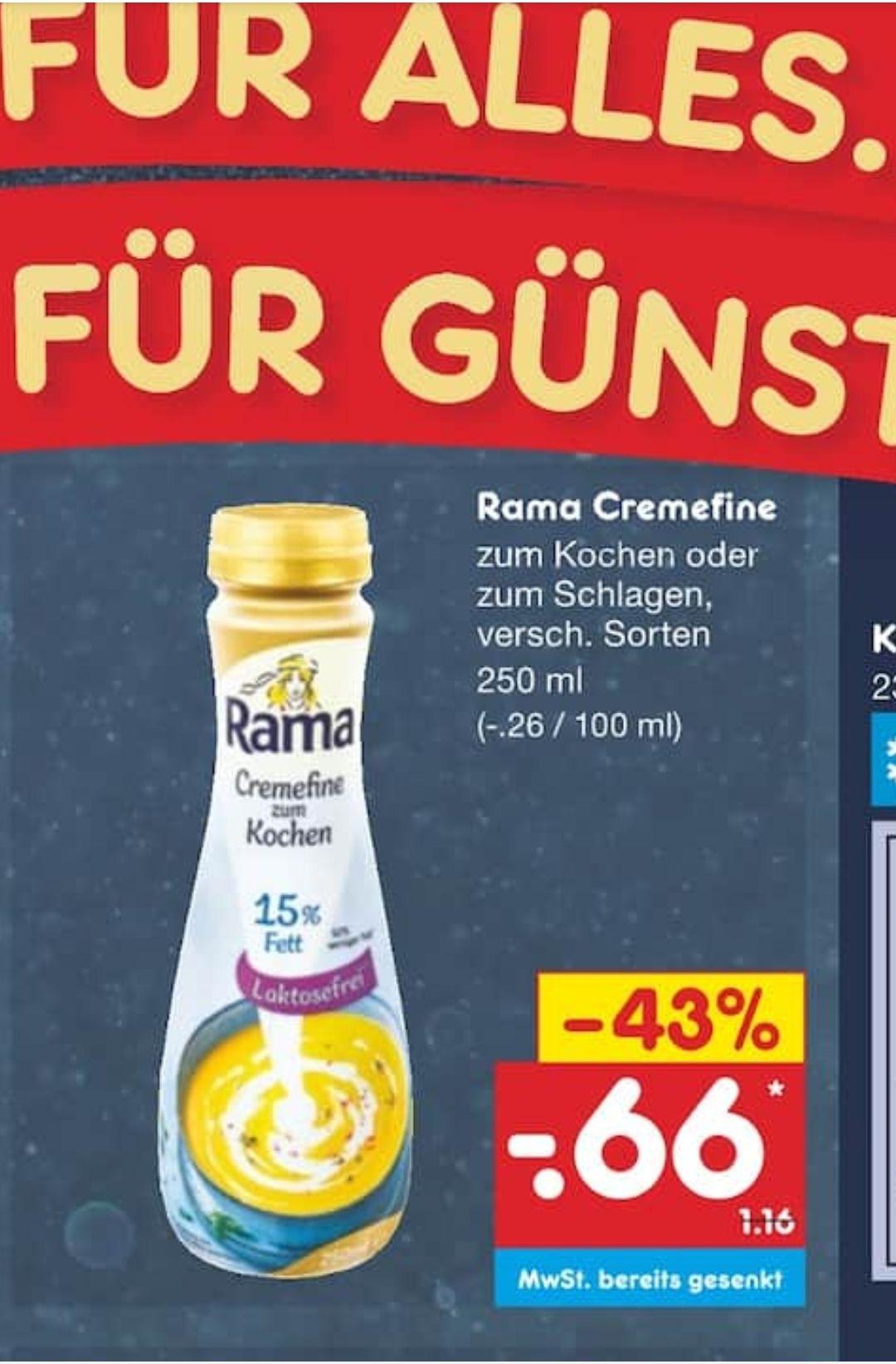 Rama Cremefine zum kochen nur 0,66€