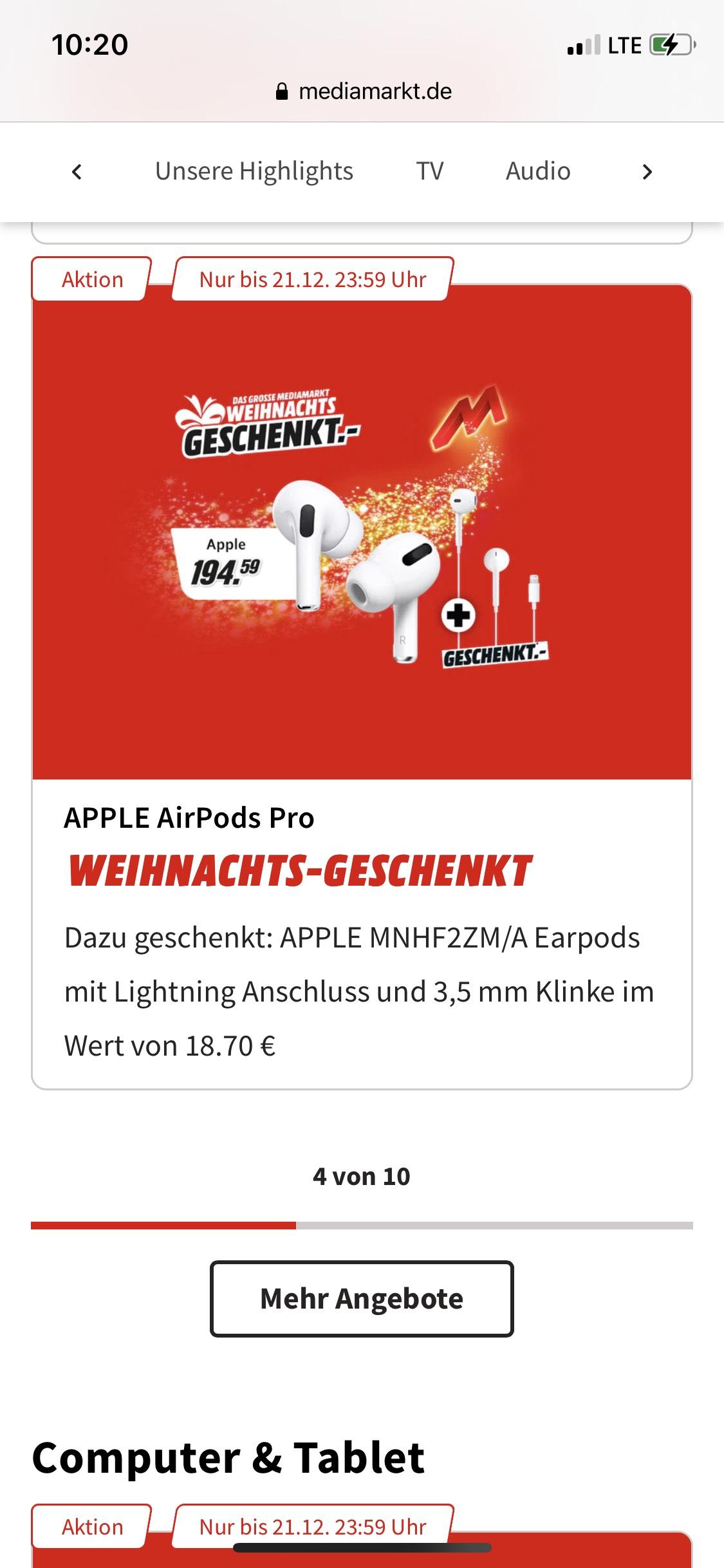 Online - Apple AirPods Pro + Apple EarPods Lightning Connector für gesamt 194,95€