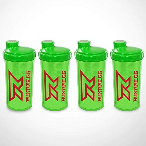 4x Runtime Protein-Shaker   700ml   mit Sieb - 100% dicht   BPA-frei + Messskala (4x Grün/Lila/Pink) Amazon
