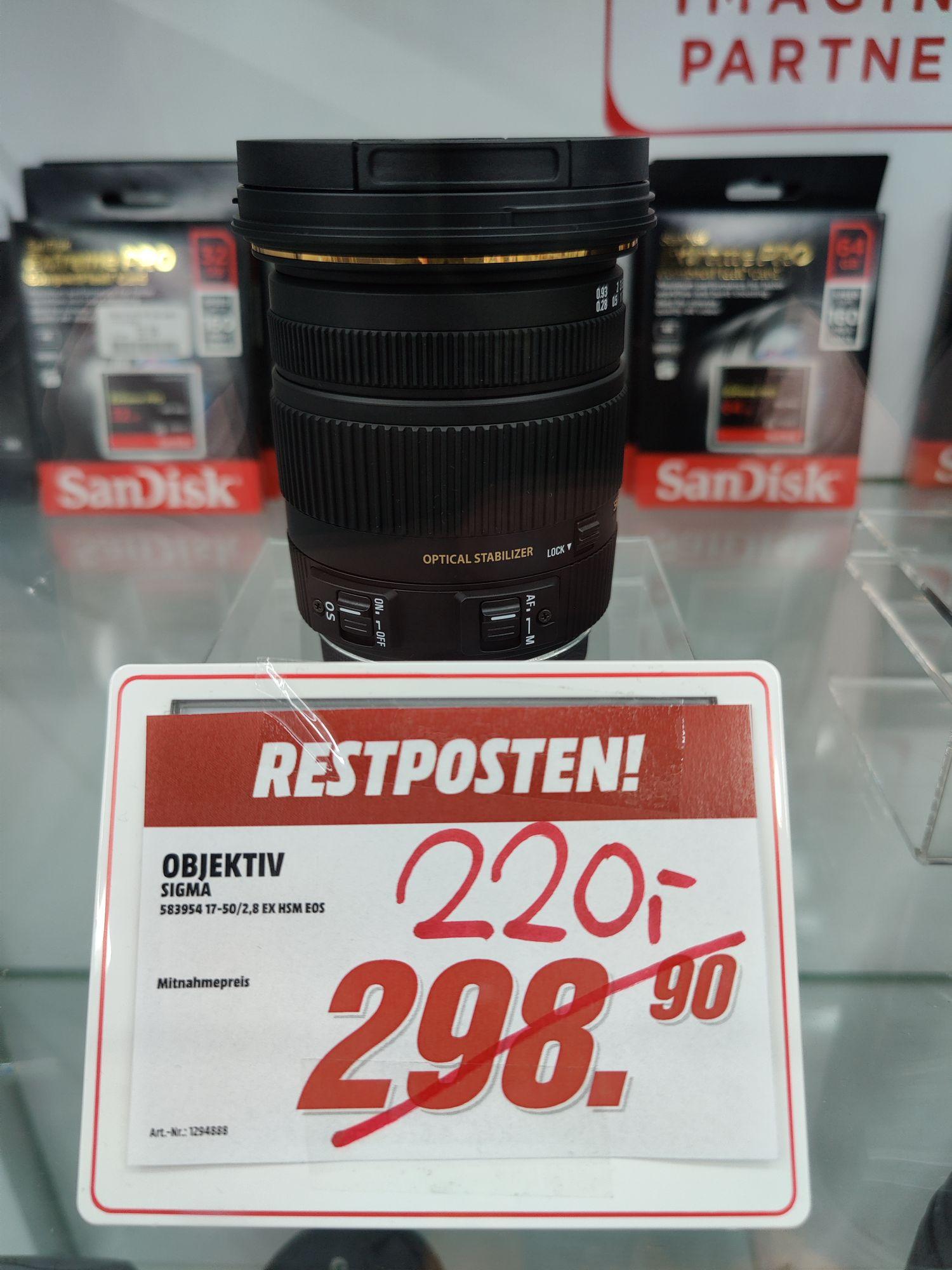 (Lokal) Media Markt Heilbronn - Sigma 17-50 2.8 ex HSM für Canon