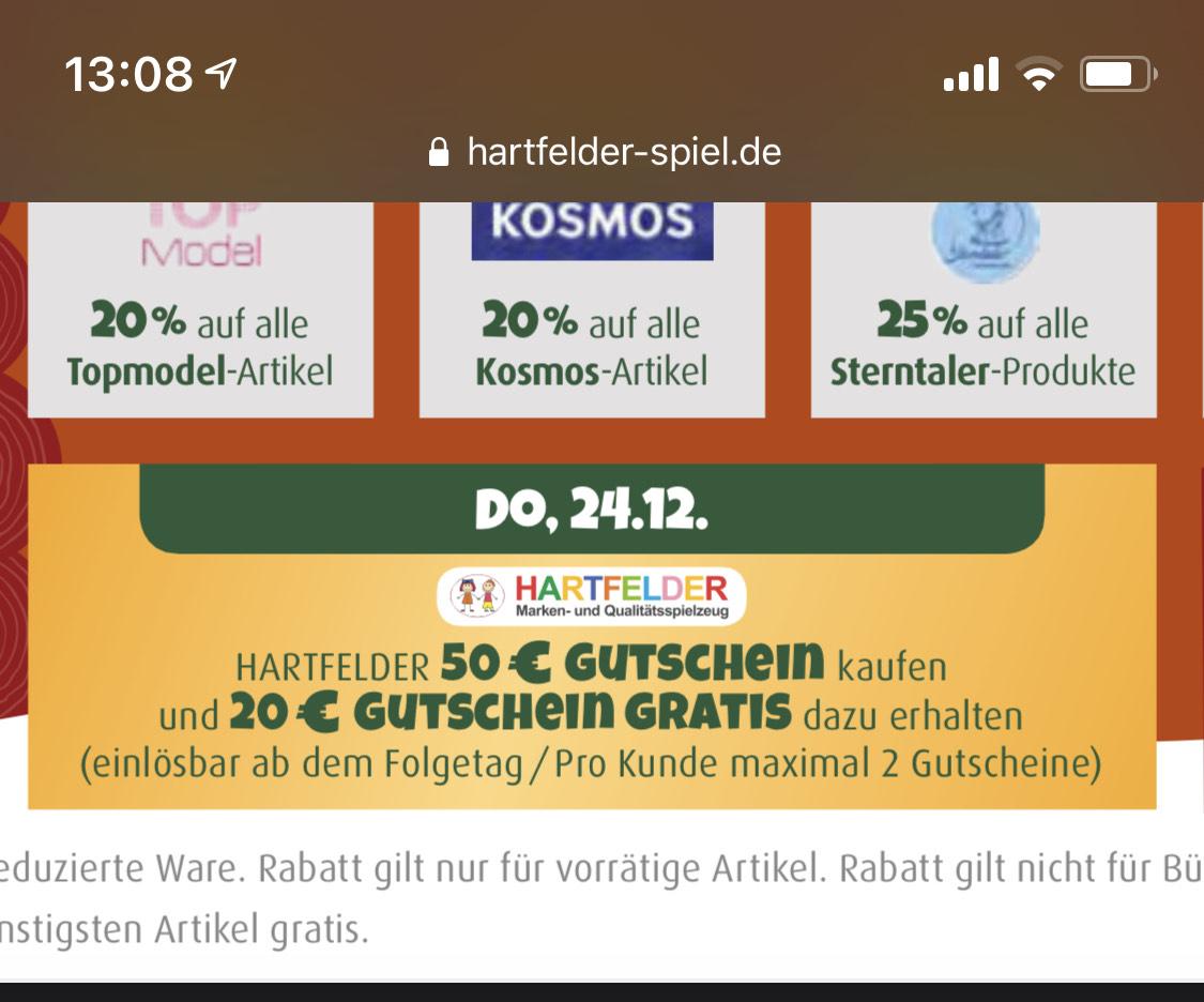 Lokal Hamburg Hartfelder Gutschein + 40% Gutschein Extra z. B. für Lego & Co.