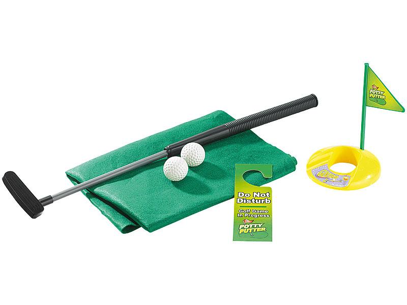 infactory Klo Golf: 7-teiliges Golfspiel-Set für Bad & WC, inkl. Golf-Grün und Türhänger