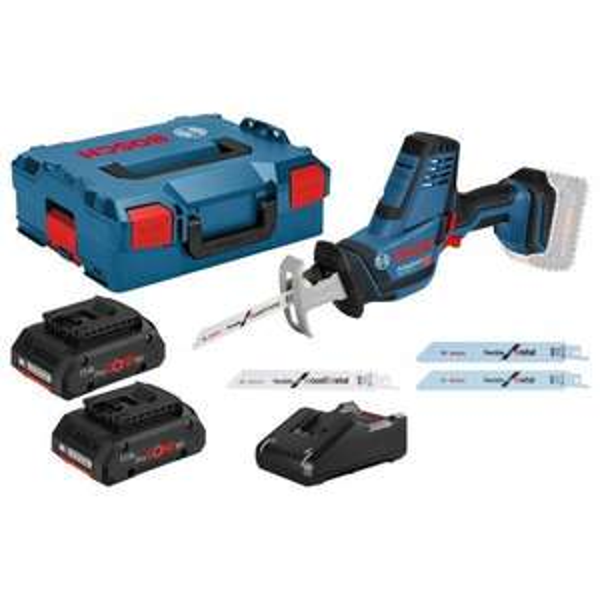 Bosch Akku-Säbelsäge GSA 18V-LI Compact 18 V / 2x 4,0 Ah ProCORE18V Akku + Ladegerät inkl. Zubehör-Set in L-Boxx [2 für 1 Aktion Bosch]