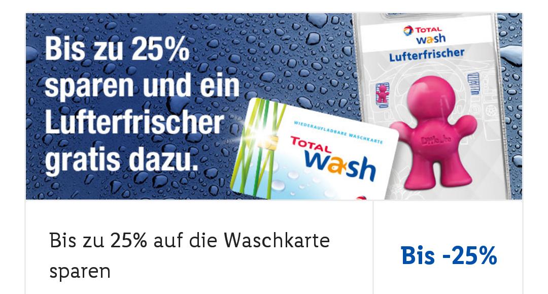 """[Lidl plus App] Total Waschkarte aufladen - bis zu 25% sparen + gratis Autoluftfrischer """"Little Joe"""""""