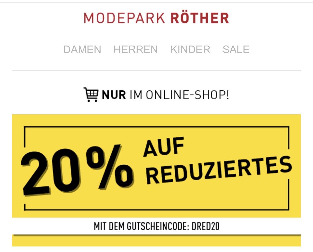 Modepark Röther 20% Rabatt auf SALE
