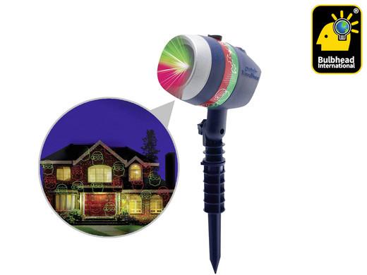 """Bulb Head Laserlicht """"Star Shower Laser Magic Projektor"""" (Für Innen- und Außenbereich, 6 verschiedene Motive, Mit Erdspieß) [iBOOD]"""