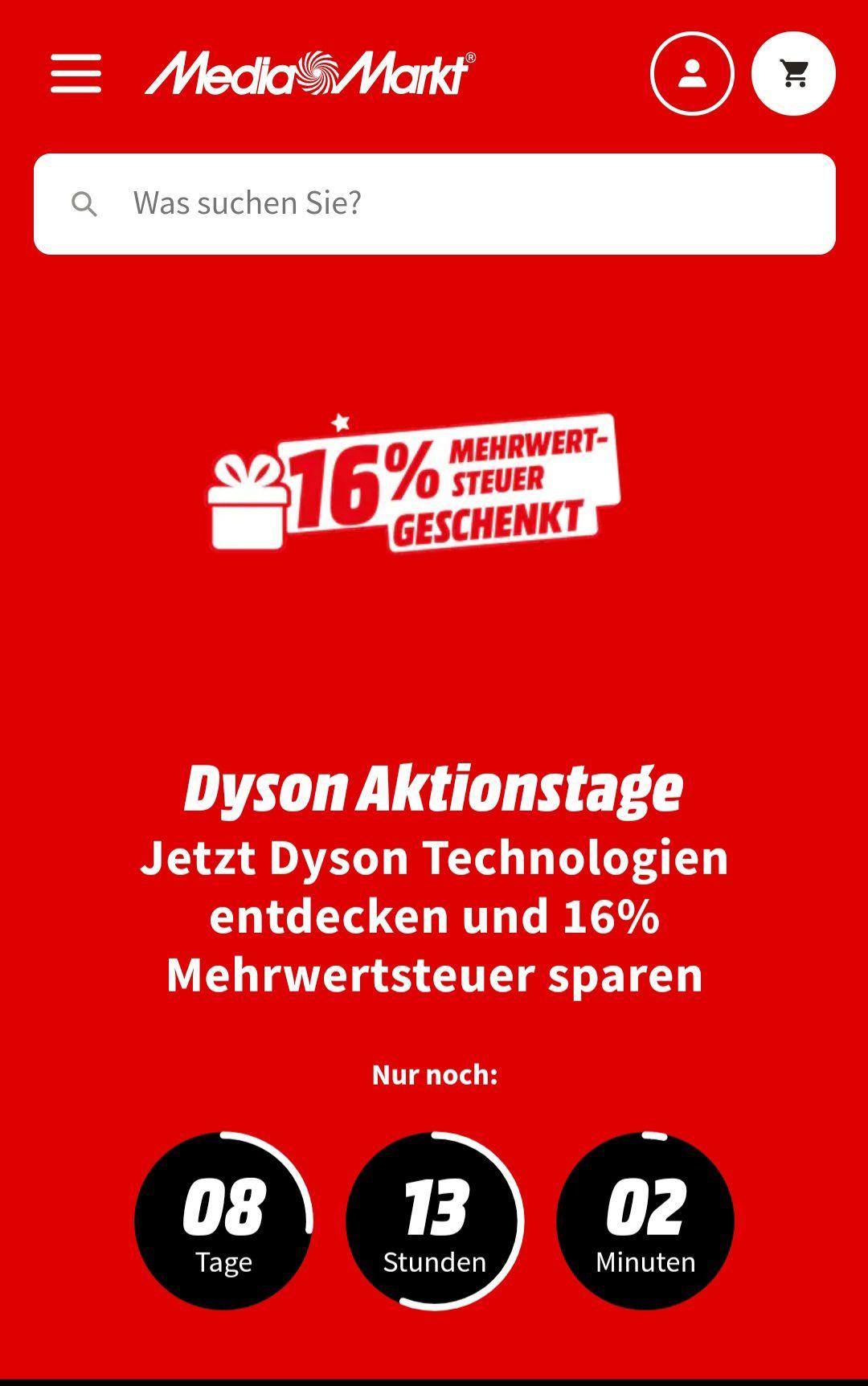 Media Markt - 16% MwSt. geschenkt auf Dyson Produkte (Bsp. DYSON Akkusauger)