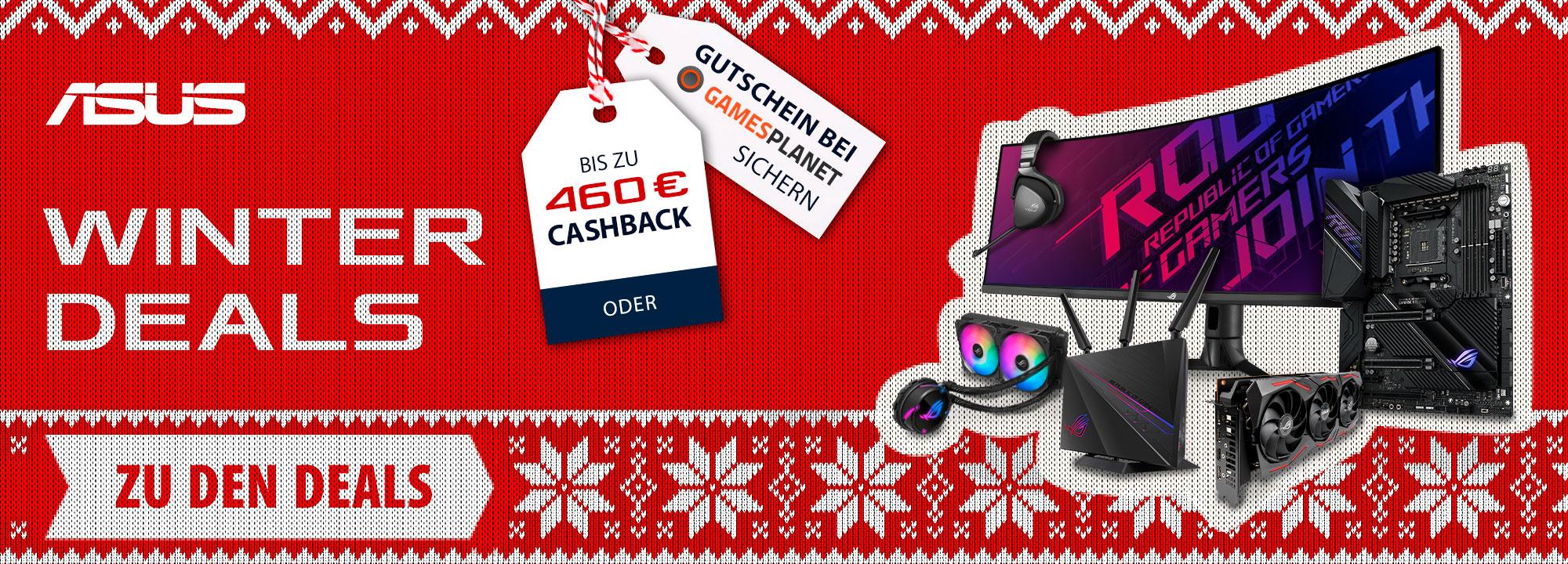 ASUS Winterdeals Cashback Aktion, z.B. ROG Strix X570-E Mainboard für 224,86€ bzw. 211,41€