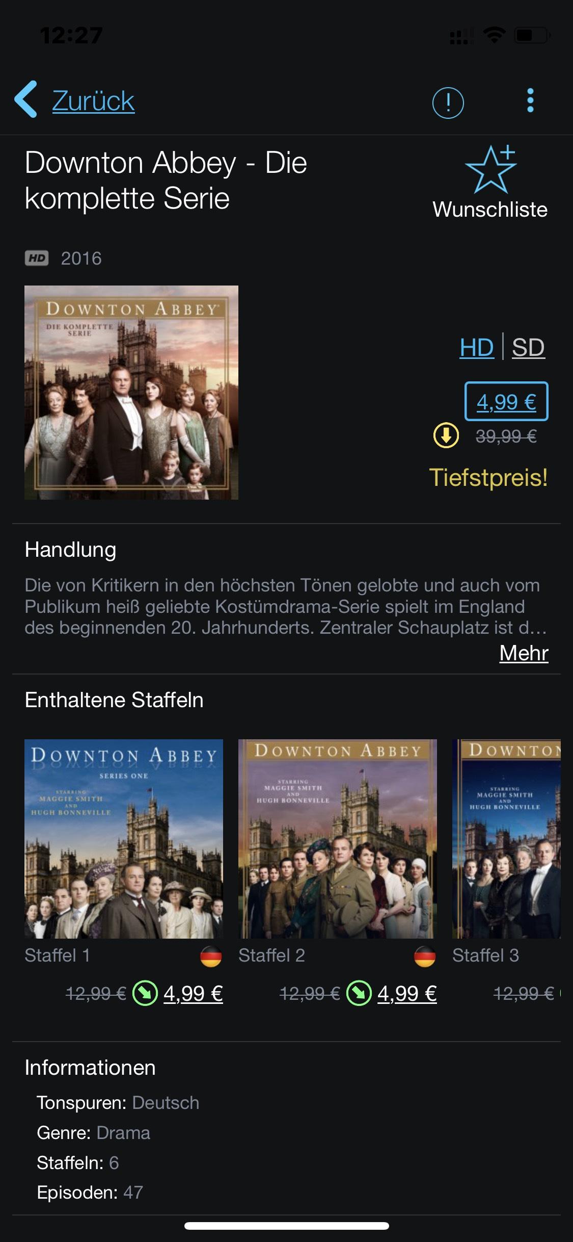 Itunes Preisfehler ? Downton Abbey Komplette Serie und Suits (1-7) The Office Komplett und in Deutsch für 4,99€ schnell sein