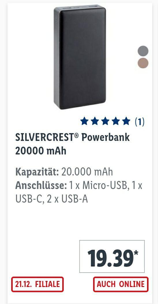 3 Jhr.Garantie,20.000mAh/18W Powerbank,Kabel, 2 Farben,Lidl Filiale ab 21.12.20, QC3.0,PD 3, Smart Fast Charge, 2xUSB-A,1xUSB-C, 1xMicro USB