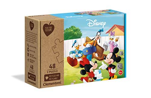 Clementoni Disney Mickey Classic Puzzel – 3 x 48 Teile – 100% recycelte Materialien [Amazon Prime vorbestellen]
