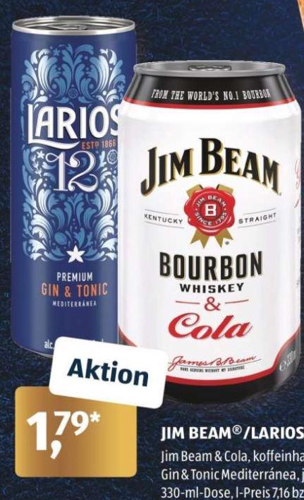 Jim Beam&Cola oder Larios 12 Premium Gin&Tonic für 1,79 €