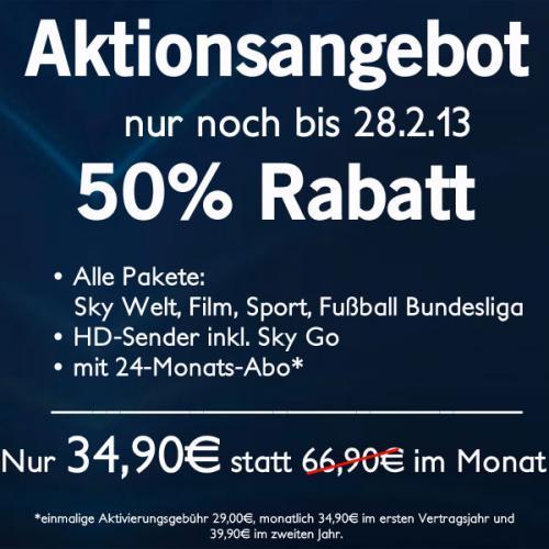 Sky Angebot: Sky komplett für 34,90€/39,90€ im Monat mit 24 Monaten Laufzeit
