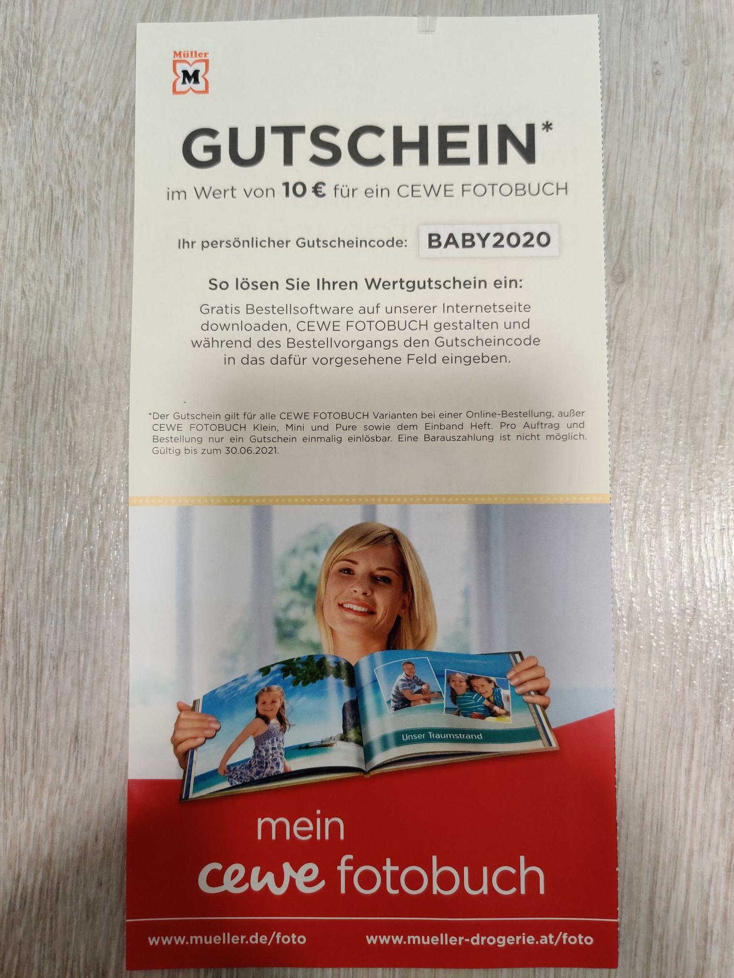 [Müller] 10€ Rabatt auf ein CEWE Fotobuch bei Online-Bestellung ohne MBW (Mini-Fotobuch für 0,65€ durch Gutscheinfehler möglich)