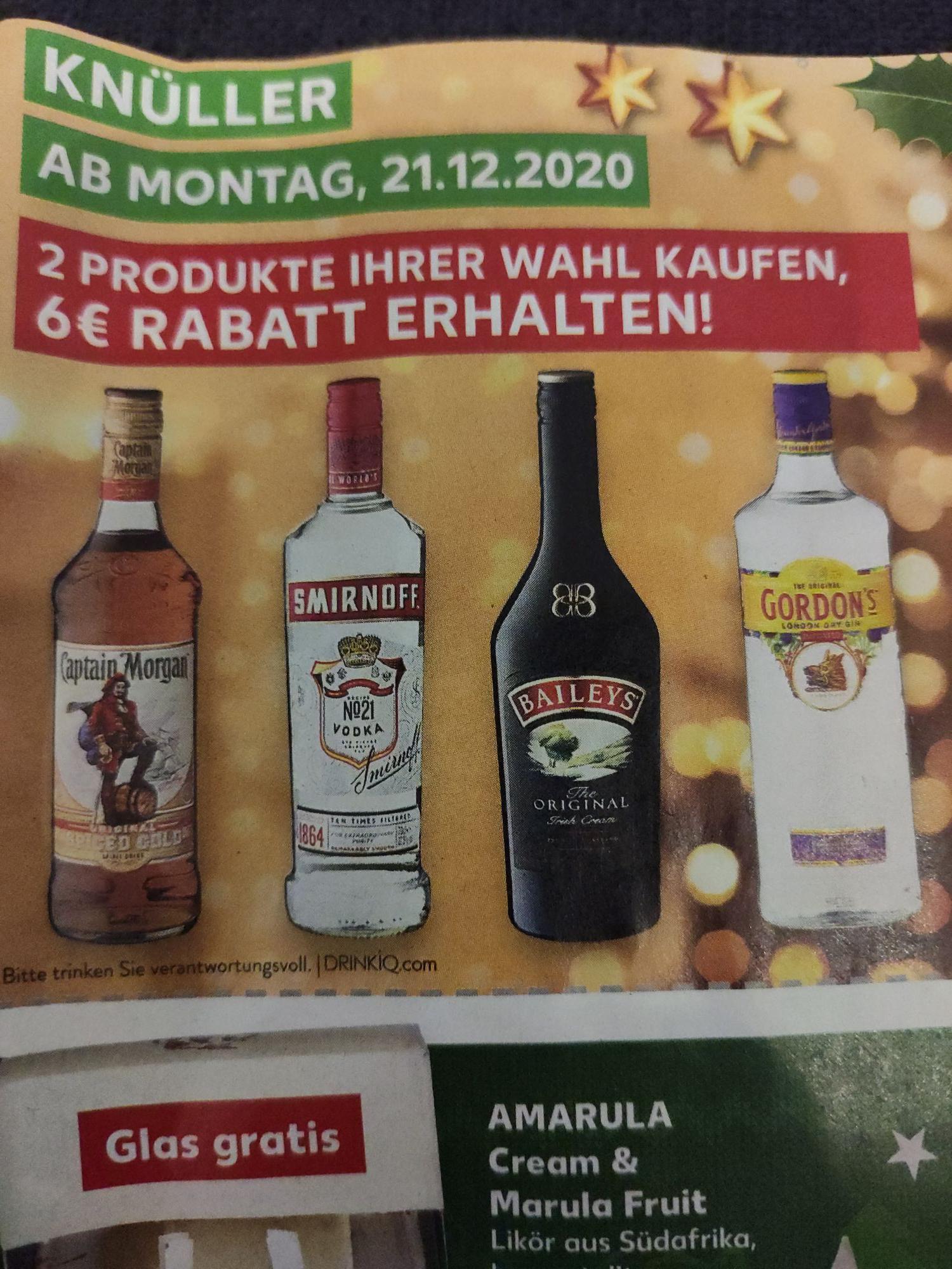 [Kaufland] 6€ Sofortrabatt beim Kauf von 2 Flaschen Captain Morgen/Baileys/Vodka/Gin