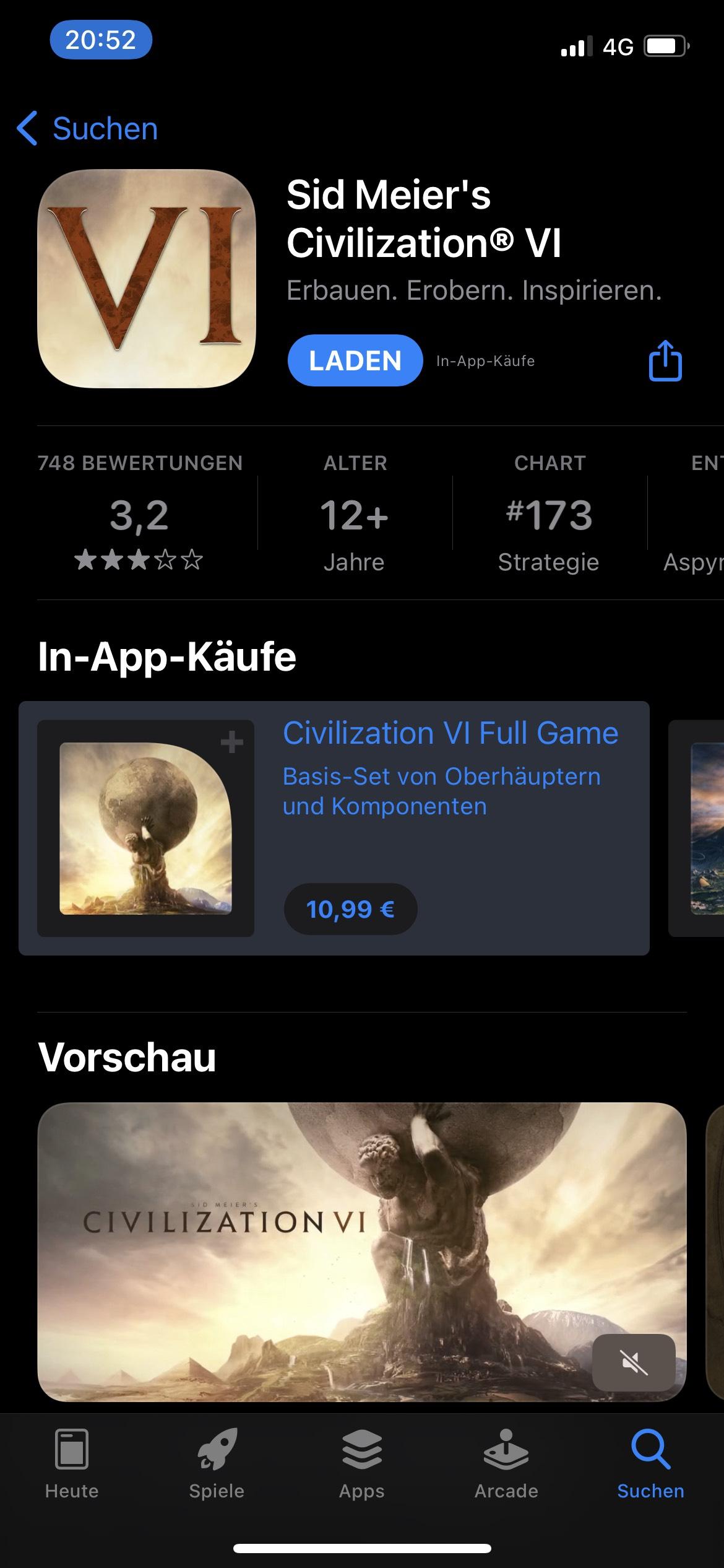 (iOS) Civilization VI Basisspiel zum halben Preis