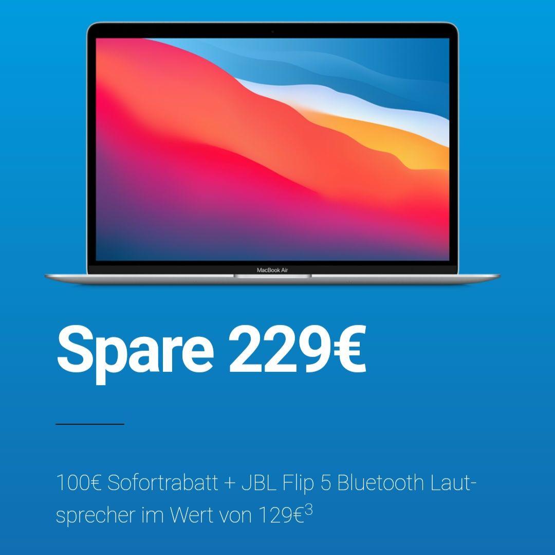 Apple MacBook Air mit M1 und 256GB Speicher inkl. JBL Flip 5 für 1029€ bei Mactrade (online).